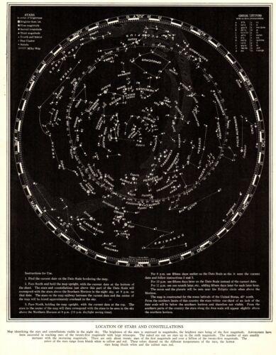 1938 Antique Constellation Map Star Map Vintage Astronomy Zodiac Print 8614