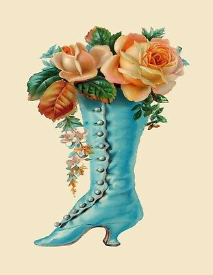 METAL REFRIGERATOR MAGNET Old Fashioned Turquoise Boot Peach Roses Flowers for sale  Shipping to India