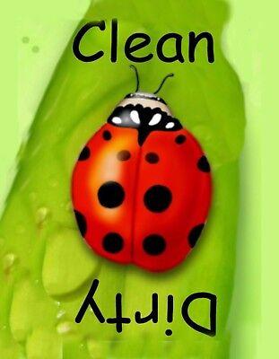 METAL DISHWASHER MAGNET Image Of Ladybug Clean Dirty Dishes Kitchen MAGNET
