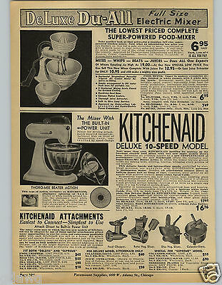 1941 PAPER AD Kitchenaid Electric Food Mixer 10 Speed Du-All