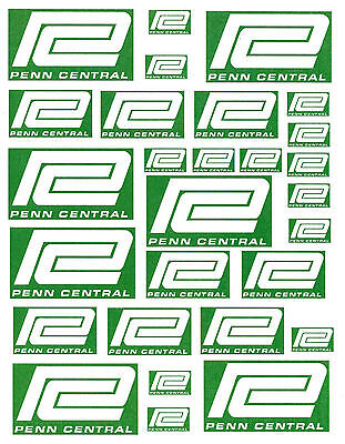 "SHEET OF PENN CENTRAL STICKERS  (8.5"" X 11"") S scale Sn30 Sn3 !"