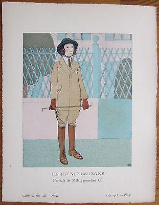 Gazette du Bon Ton Pochoir Art Deco La Jeune Amazone - 1920