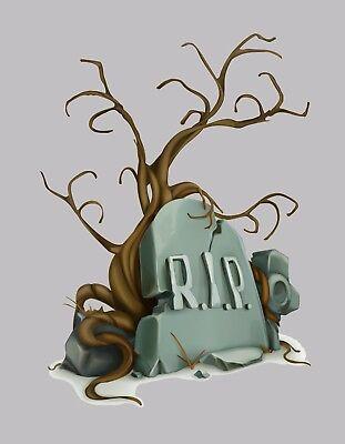 METAL REFRIGERATOR MAGNET Halloween Headstone RIP Dead Tree Humor  - Humorous Halloween Headstones