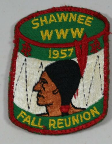 VTG 1957 Shawnee Fall Reunion Embroidered Drum Indian Head Patch BSA Boy Scouts