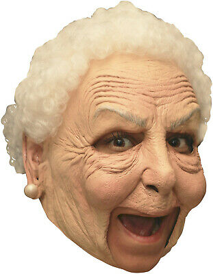 Nanny Deluxe Old Lady Mask Open Mouth Easy Drink Eat Halloween Latex Adult Mask - Old Halloween Lady