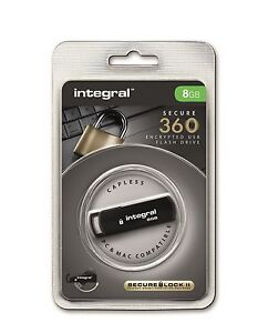 INTEGRAL SECURE 360 8GB USB FLASH MEMORY STICK PEN DRIVE 256 BIT ENCRYPTED LOCK