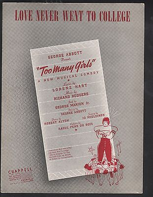 Love Never Went To College 1939 Too Many Girls Sheet Music