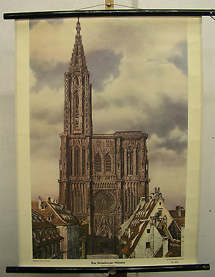 Schulwandbild Wandbild Münster Strassburg Elsaß Rhein EU Kirche Schulmann 64x86