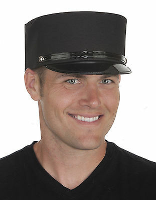 Adult Conductor Hat (ADULT BLACK CONDUCTOR HAT TRAIN MAN OPERATOR GENDARME FRENCH POLICE COSTUME)