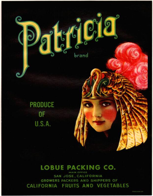 *Original* PATRICIA Egyptian CLEOPATRA San Jose Vegetable Crate Label NOT A COPY