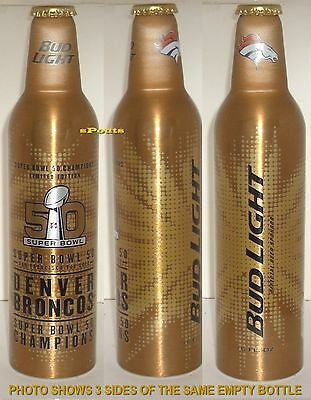 DENVER BRONCOS 2016 SUPER BOWL NFL FOOTBALL BUD LIGHT ALUMINUM BEER BOTTLE-CAN