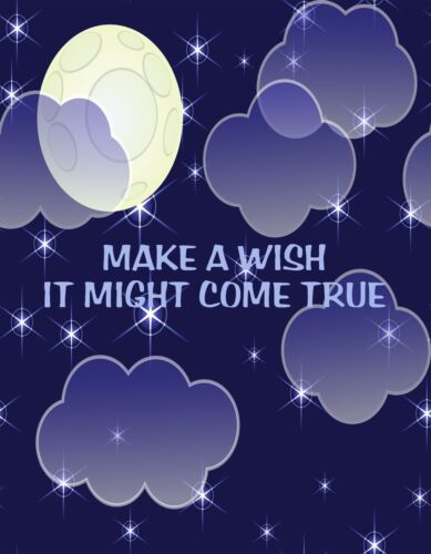 METAL REFRIGERATOR MAGNET Make Wish Might Come True Blessing Saying Stars Moon