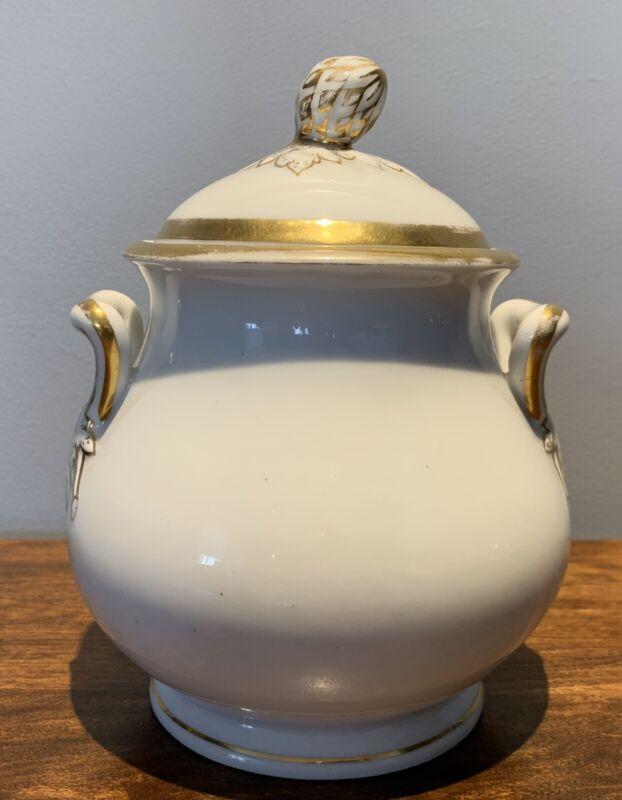 Antique Paris Porcelain Gold Leaf Covered Sugar Bowl: