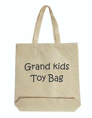Grandmas grand kids toy tote bag Grandpa Natural color boy girl