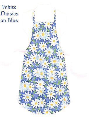 Handmade Tween Size Apron   White Daisies On Blue