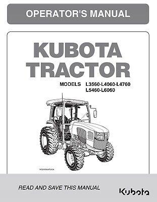 Kubota L3560 L4060 L4760 L5460 L6060 Cab Tractor Operators Manual Supplement