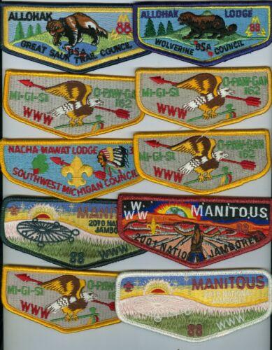 Lot Of 10 MINT Older Boy Scout OA Michigan Lodge Flaps (88, 88, 162, 373)