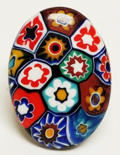 Large Vintage Millefiori Venetian Art Glass Oval Adjustable Ring Italy