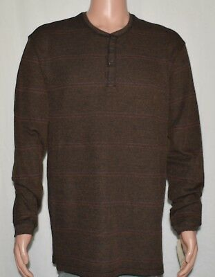 Haggar #6350 NEW Men's Striped Long Sleeve Henley Shirt MSRP -