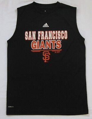 Boys Adidas SF Giants Tank Top Muscle Tee Shirt Black Climalite Large 14-16 EUC! - Black Muscle Boys