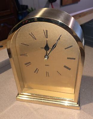 Vintage Howard Miller Brass Brush gold Finish Gold Mantle Clock