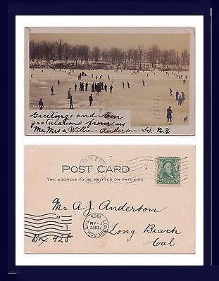 NEW YORK STATEN ISLAND SKATING ON SILVER LAKE REAL PHOTO 1905 TO LONG BEACH, (Staten Island Ca)