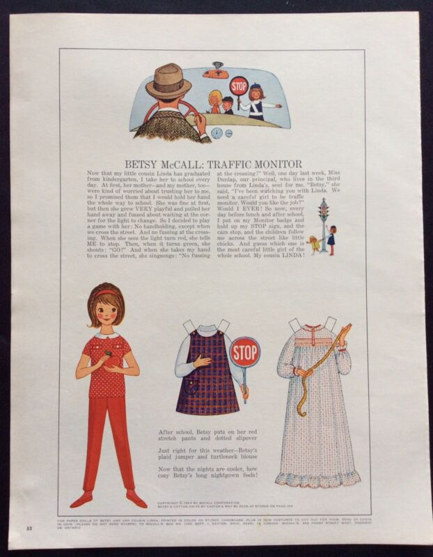 Vintage Betsy McCall Mag. Paper Doll, Betsy McCall Traffic Monitor, Sept. 1964