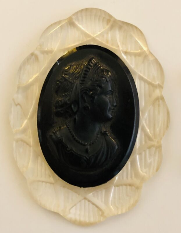Antique Vintage Black Bakelite Clear Acrylic Lucite Cameo Brooch - Pin Missing!
