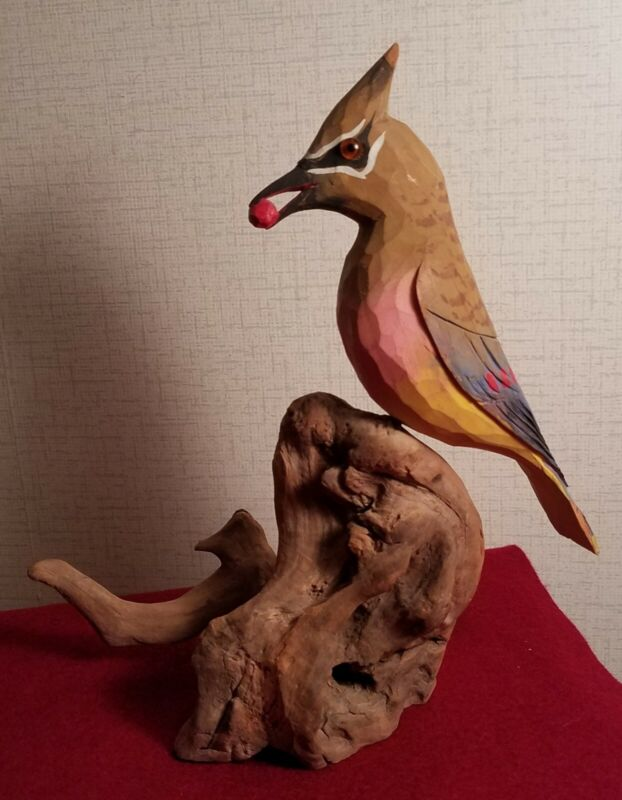 Carved wooden bird, waxwing, signed by James Shepherd of Asheville, NC,  1997?