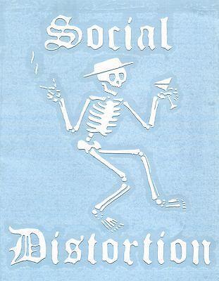 SOCIAL DISTORTION skeleton smoking/drinking WHITE RUB-ON STICKER **FREE SHIPPING