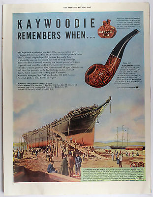 Vintage 1947 KAYWOODIE BRIAR PIPES Full Page Large Magazine Print Ad
