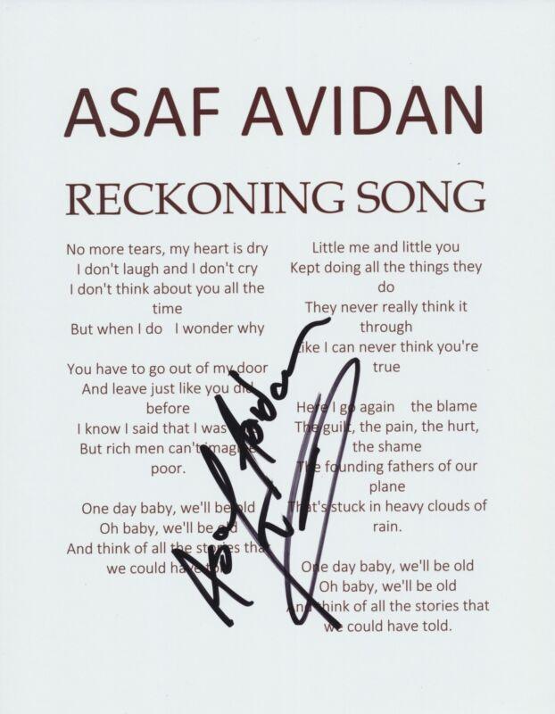 ASAF AVIDAN SIGNED RECKONING SONG LYRIC SHEET