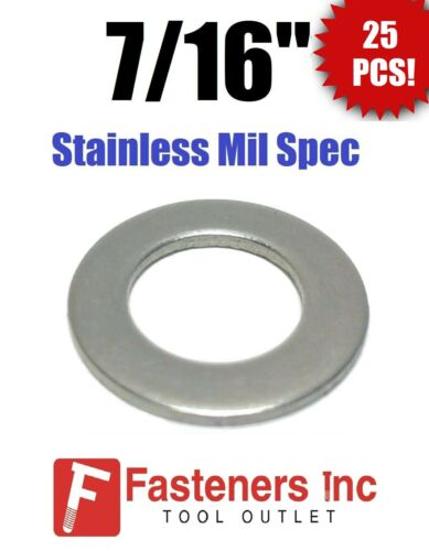 """(Qty 25) 7/16"""" ID x .75 OD x 1/16"""" Stainless Steel AN Flat Washer Series 9C716"""