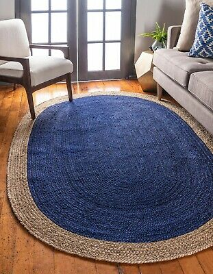Blue Shape Oval Jute Rugs Hand Braided Floor Dhurrie Natural Fiber Mats Rag Rug ()