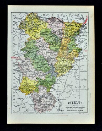 1902 Ireland Map Kildare County Athy Ballitore Kilcullen Kilcock Celbridge Naas