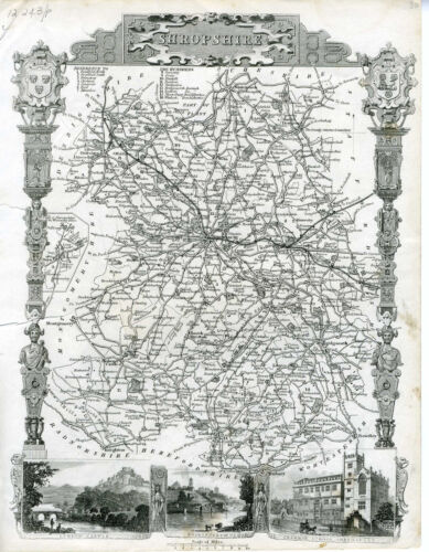 c.1840 Genuine Antique map Shropshire, England. Elegant Engraving. Moule