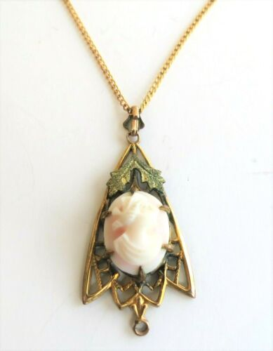 Vintage Pink Cameo GOLD FILL Chain & Pendant Green Leaves Gorgeous Necklace