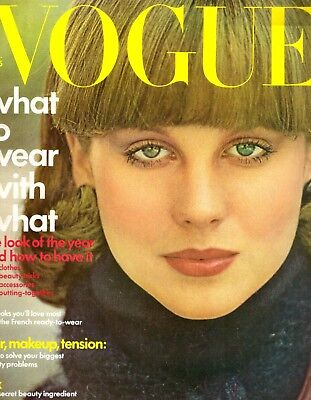 1975 Vogue Magazine Elsa Martinelli A Chorus Line France Makeup Lingerie Ads 70s