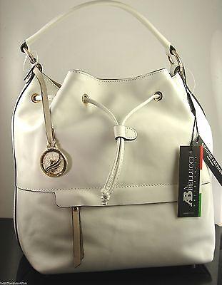 AB Bellucci White Seta Italian Leather Drawstring Shoulder Hand Bag NWT