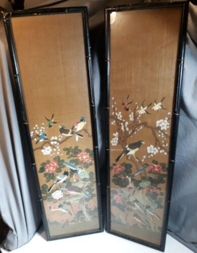 Vintage Mid Century Asian Bird Flower Painting Set Faux Bamboo Wood Framed Art