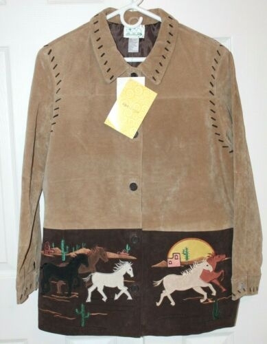 New THE QUACKER FACTORY Western Horse Brown Suede Leather Coat Jacket Size Large