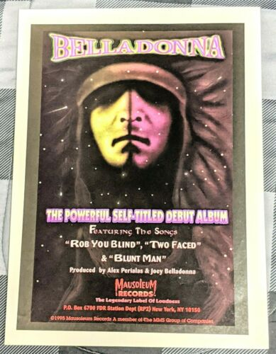 JOEY BELLADONNA / ANTHRAX / 1995  SELF TITLED LP / ALBUM MAGAZINE PRINT AD