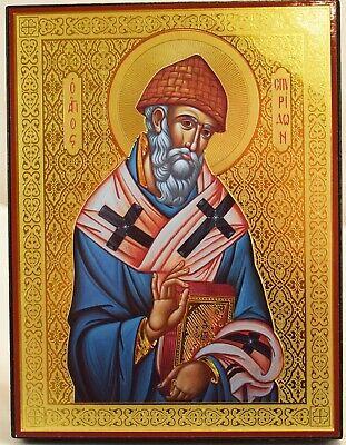 Gilden Wooden Orthodox Icon of Saint Spyridon, Orthodox Christianity