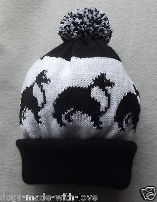SHETLAND SHEEPDOG / SHELTIE DOG Knitted BLACK  & WHITE bobble HAT ADULT size