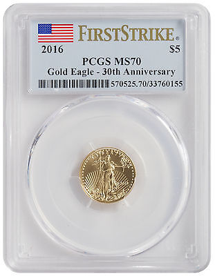2016 - $5 1/10oz American Gold Eagle MS70 PCGS First Strike Flag Label