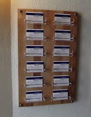 12-Fach Visitenkartenwandhalter,Visitenkartenständer aus Holz und Acrylglas