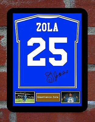 Framed Shirt Signed Zola Chelsea Metal Sign Man Cave