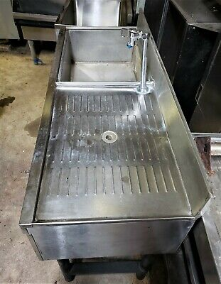 4ft Ice Bin With Water Station Faucet And Drainboard