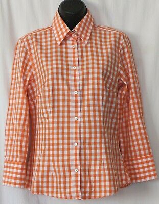 J. MCLAUGHLIN Fitted Orange Checked Cotton Blouse Point Collar - Sz 4 EXC Cotton Point Collar Blouse