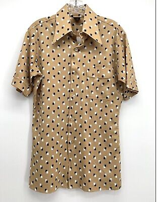 1970s Men's Shirt Styles – Vintage 70s Shirts for Guys Vtg 1970s Mens Abstract Disco Retro Button Down Shirt by Joel - Short Sleeves $29.99 AT vintagedancer.com